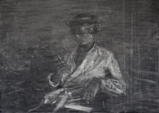 Federico Pietrella, Athéna, 2014, carboncino su tela, cm 50X70