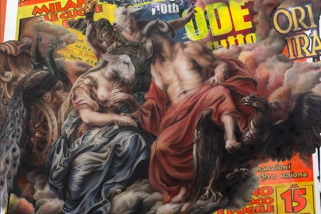 Federico Unia, Un amore bestiale, 2014, tecnica mista, 145x200 cm