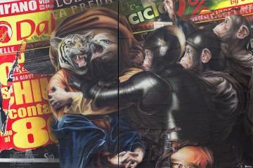 Federico Unia, La cattura, 2014, dittico, tecnica mista, 150x240 cm