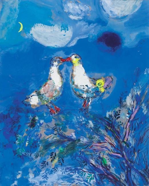 Marc Chagall, Due Piccioni, 1925, gouache, inchiostro e inchiostro di china su carta colorata blu, Collezione Privata © Chagall ®, by SIAE 2014