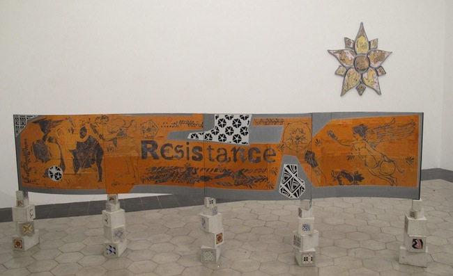 Imaginary Resistance  2013. Collezione RISO - Museo d'Arte Contemporanea della Sicilia (Palermo). Scultura (tecnica mista cm 150x400x30) e composizione di disegni (tecnica mista cm 130x134x4)