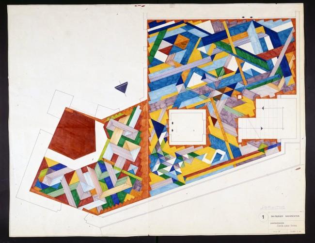 Gio Ponti, Pavimenti per gli uffici della Salzburger Nachrichten | Disegno di progetto del pavimento di Salisburgo '76 @ Gio Ponti Archives