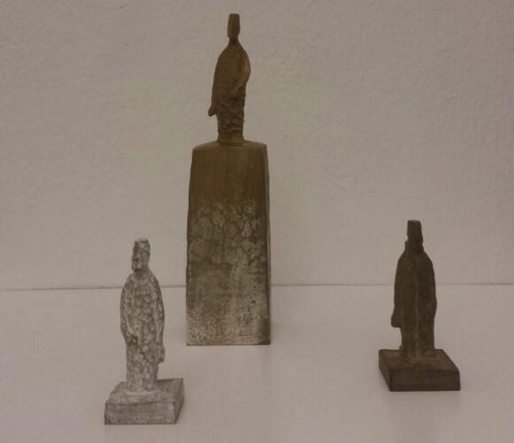 Takimoto Mitsukuni, Getsu / Hi, 2007-2013, sei statuette in legno dipinto, dimensioni varie Courtesy Paraventi Giapponesi - Galleria Nobili, Milano