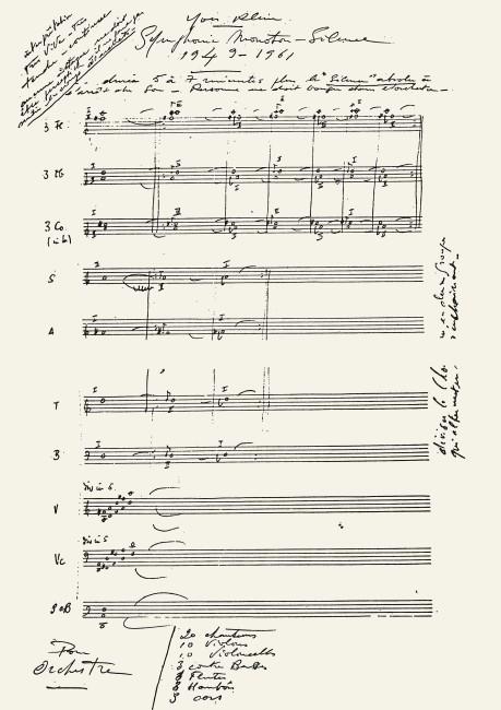 Yves Klein, Partitura della Symphonie Monoton-Silence © Yves Klein / ADAGP, Paris 2014