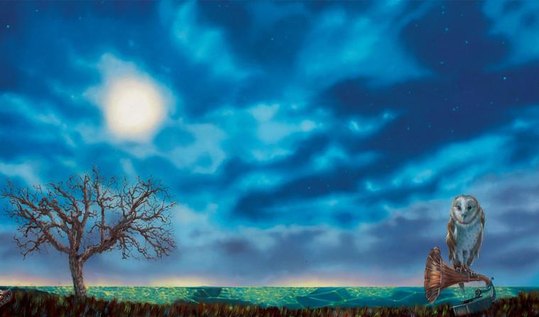 Carlo Alberto Rastelli, Notturno - The Devils word, 2014, olio su tela, 50x100 cm