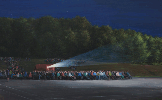 Serban Savu, Cinema, 2014, oil on board, 61x98 cm