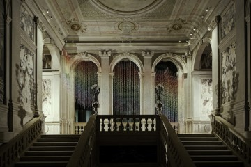 Vidya Gastaldon, Escalator (Rainbow Rain), 2007, Courtesy the artist and Art: Concept, Paris. Pinault Collection. Installation view at Palazzo Grassi 2014. Ph: © Palazzo Grassi, ORCH orsenigo_chemollo