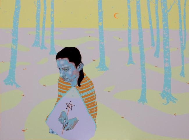Carlo Alberto Rastelli, We only come out at night, 2014, olio, acrilico, foglia oro e inserto in carta su tela, 120x160 cm