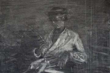 """Federico Pietrella, """"Athéna"""", 2014, carboncino su tela, cm 50x70"""