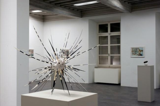 """Erjon Nazeraj, """"cuore/istrice"""", 2013, ceramica e aculei di istrice, 50x50x50 cm, Palazzo del Governatore - PR, mostra """"Caratteri"""", (foto di G. Amoretti)"""
