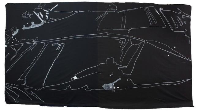 Giovanni Frangi, Fondale, 2014, 300x600cm, Pastelli grassi su tela
