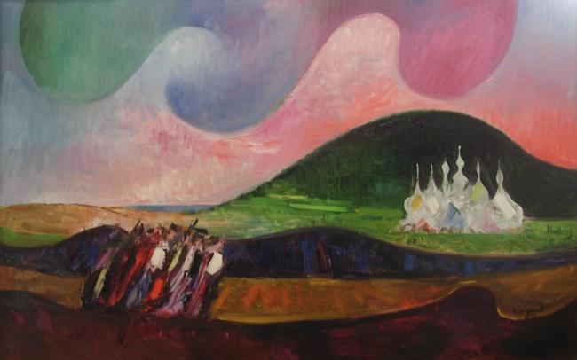 Trento Longaretti, Strano cielo sui viandanti, 2009, olio su tela, 82x130 cm
