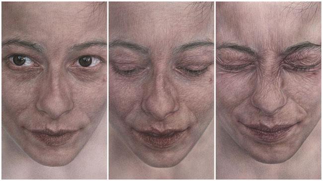 Vania Comoretti, PROGRESSIONE, 2013, acquerello, china e pastello su carta, singolo disegno cm 48,5 x 29, trittico cm 48,5 x 87