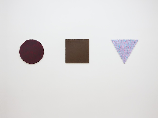 MarchèFranprix triptique, 2014, composto da: concentrato di pomodoro su tela circolare, ⌀ 40 cm; nutella su tela quadrata, cm 40x40; dentifricio Aquafresh su tela triangolare, cm 40x45