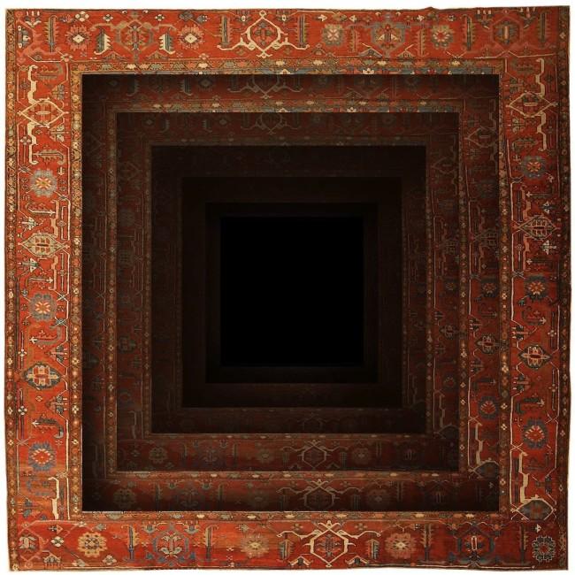 Faig Ahmed, Just Emptiness, 2014, handmade woolen carpet, natural colors, 150x150 cm Courtesy: the artist Sezione: Main