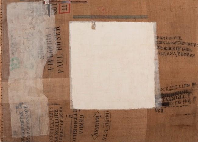 William Xerra, Sparizione, 2006, calce, collage e vinavil su tela di juta, 177.5x245 cm, firmato e datato sul verso, A010131S/14161