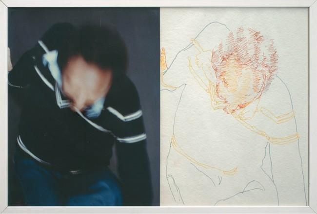 Giorgio Ciam, Autoritratto nel paesaggio, 1980, 6 fotografie a colori con intervento, 63.2x63.8 cm, Collezione La Gaia, Busca