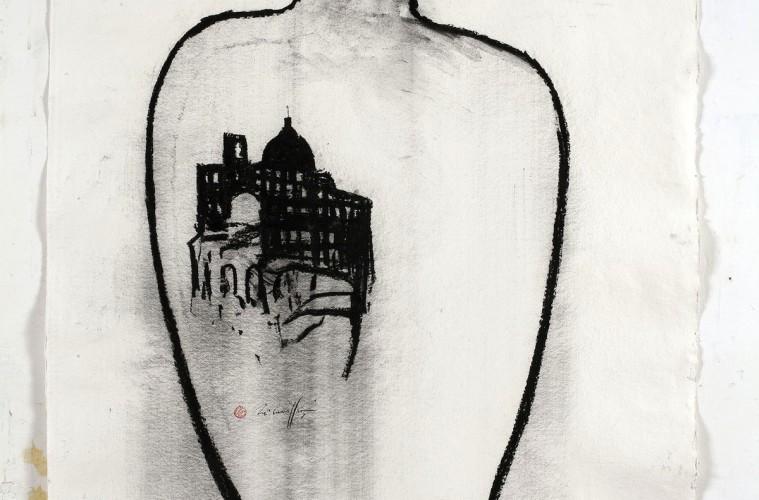 Piero Pizzi Cannella, Cattedrale, 2012, tecnica mista su carta, 130x90 cm