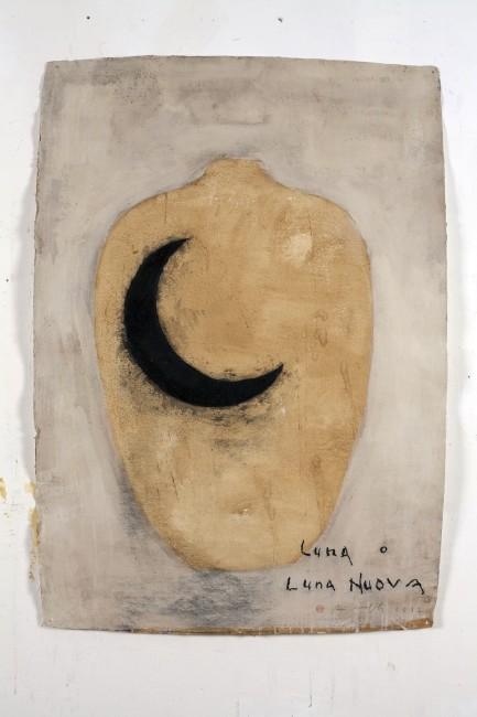 Piero Pizzi Cannella, Luna o Luna nuova, 2011, tecnica mistasu carta, 130x90 cm