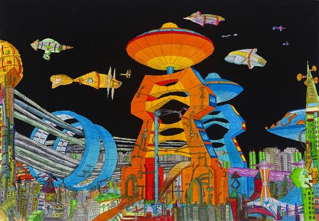 Propaganda Sendai - Proxima sector, photocollage, oil pastel -2014- cm 104x150