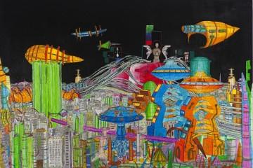 Propaganda Sendai urban planning no 1- photo collage, oli pastel, 2014, cm 104x150