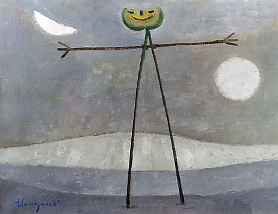 Trento Longaretti, Lo spauracchio nudo, 1986, olio su tela, 50x65 cm