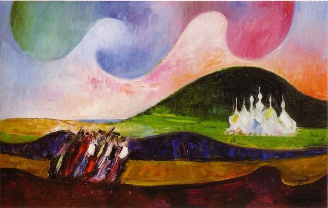 Trento Longaretti, Strano cielo sui viandanti, 2009, olio su tela, 82x300 cm