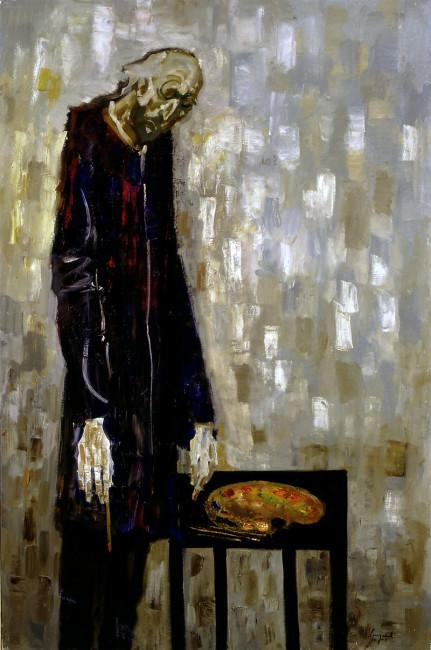 Trento Longaretti, Un vecchio pittore - Humana Pictura 11, 2003, olio su tela, 180x120 cm