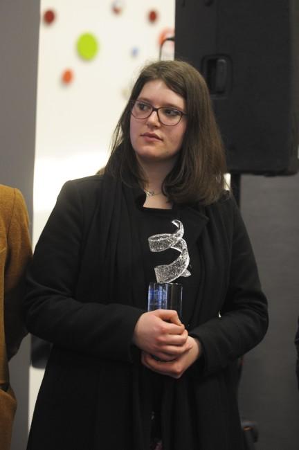 La vincitrice Alessia Xausa, Premiazione Euromobil, Pad 25, 24/01/2015, Arte Fiera 2015, Bologna