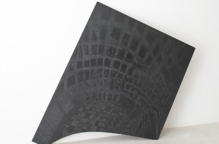 Federico Guerri, Senza titolo, 2012, ardesia incisa, olio, 150x175 cm