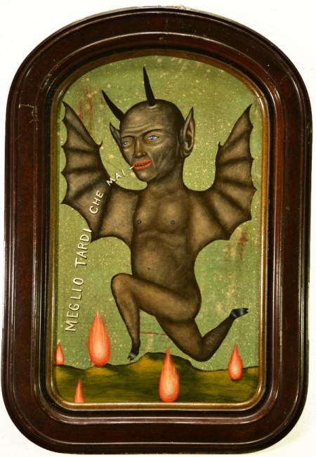 Fred Stonehouse, Better late than never, 2014, acrilico su tavola con cornice antica, 53x35 cm
