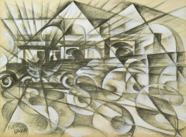 Giacomo Balla, Velocità di automobile, 1913 c., biacca e carboncino su carta da spolvero, cm 44.4x59.5, collezione privata