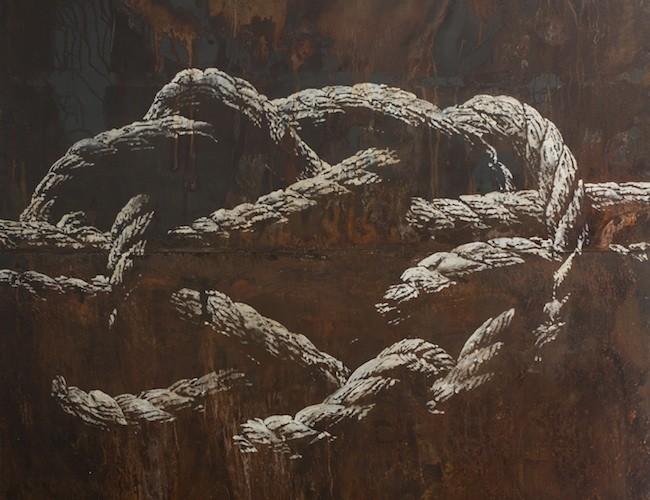 Filippo Sciascia, Il serpente e la corda, olio su ferro,  cm 240x250, 2014, courtesy dell'artista