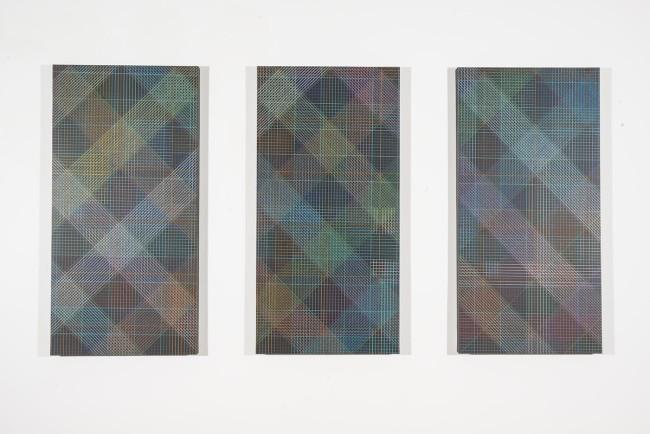 Támas Jovanovics, A Trypticon to A.S., 2015, matita e acrilico su compensato, 3 tavole da 100x50 cm ciascuna