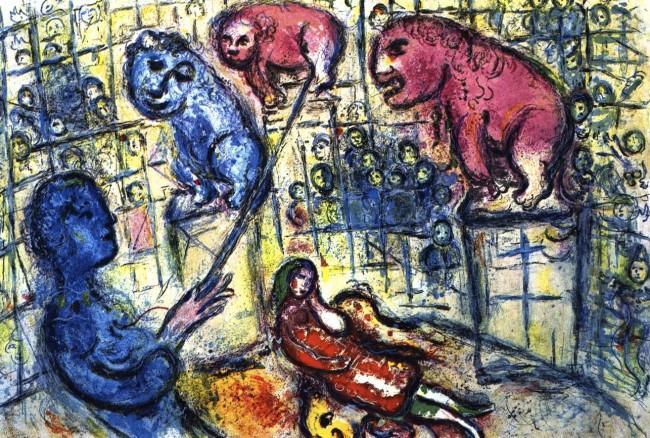 Marc Chagall, Le dompteur, la dompteuse et les lions, Le Cirque, 1967, litografia, 42x64 cm