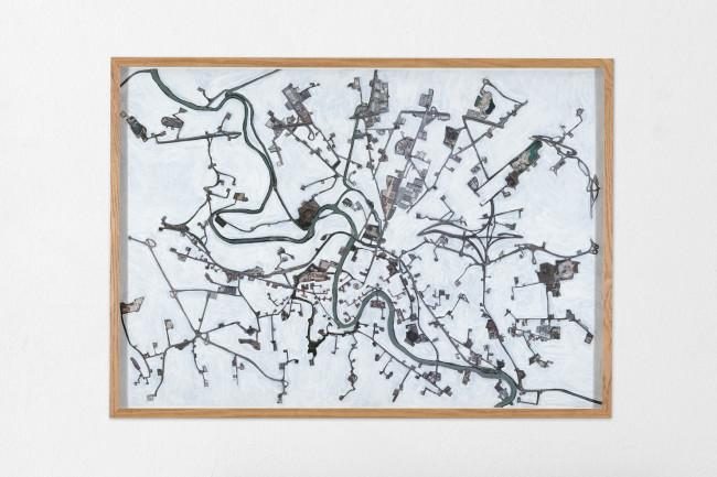 Eugenio Tibaldi, Geografia Economica, 2015, acrilico bianco e stampa fotografica su carta Fedrigoni, 105x75 cm Courtesy Studio la Città, Verona Foto Michele Sereni
