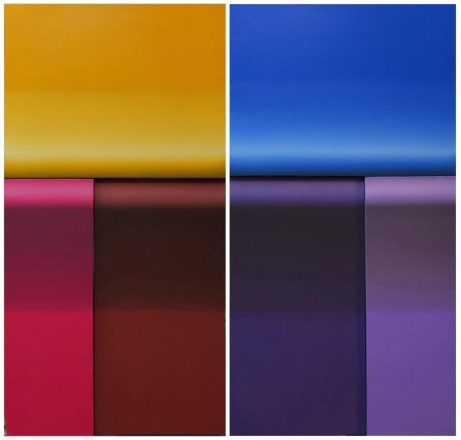 Ping Li, Nuove Sostanze, 2014, olio su tela, 100x50 cm ciascuna