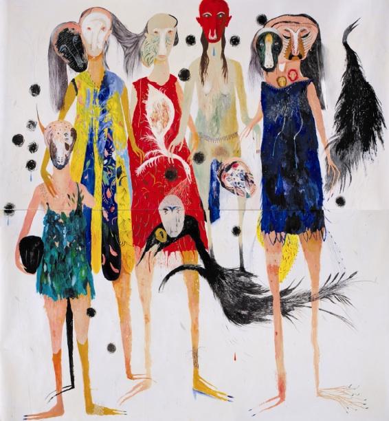 Silvia Mei, Diciassette rose foglie, 2013, tecnica mista su carta, 230x246 cm