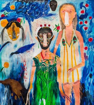 Silvia Mei, Panico, io, nonne, 2014, tecnica mista su carta, 187x150 cm