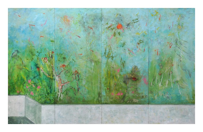 Harry Adams, Kingfisher in the impossible garden, 2014, oil characoal and beeswax encaustic on cotton covered boards