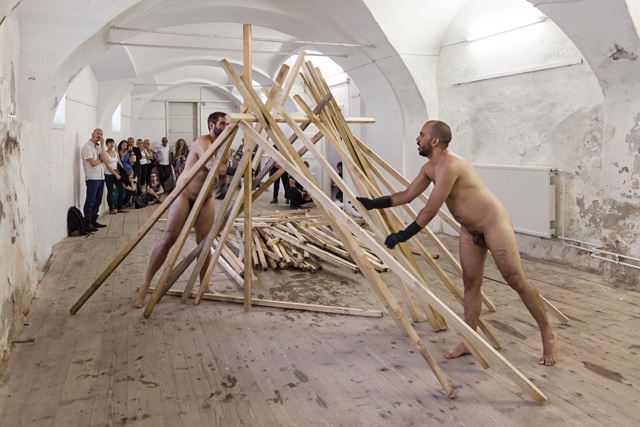 Ruben Montini and Alexander Pohnert_there is only so much we can bear, 2014_Ptuj, performance, 1'20''_Slovenia_Nicolò Burgassi and Ilan Zarantonello, OKNO studio_courtesy Galleria Massimodeluca, Mestre (VE)