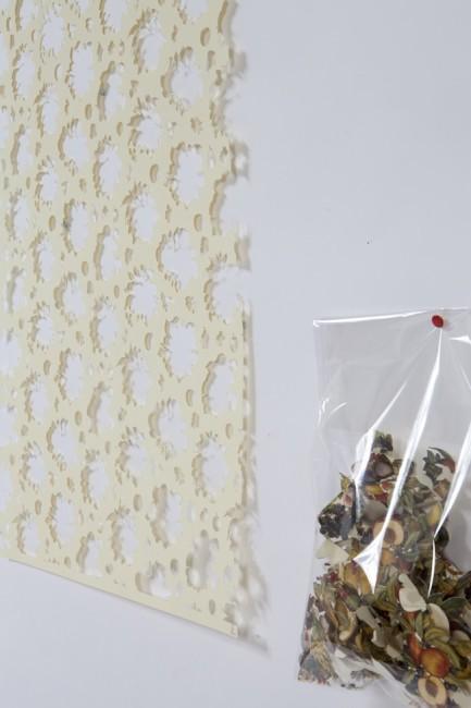 Gianluca Quaglia, Il luogo dei fiori e dei frutti, 2015, intagli su carta, busta di plastica, intaglio 70x50 cm, busta 40x30 cm (dettaglio) Foto Marcella Savino