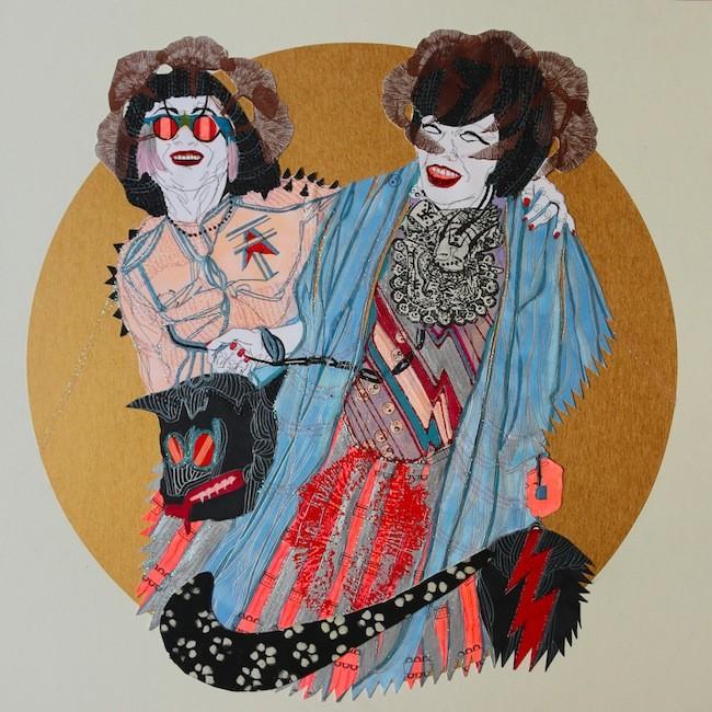Elena Monzo, Dream Theatre, tecnica mista su carta,  cm 50x50, 2015, courtesy dell'artista
