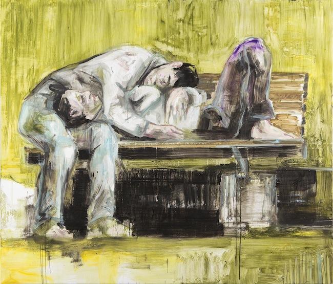 Paolo Maggis, Sleepers, 2015, cm 180x210, olio su tela, courtesy dell'artista, foto Juan De Jarillo