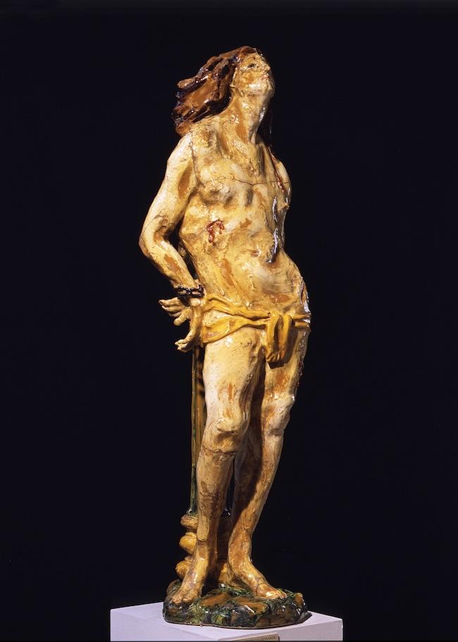 LEONCILLO LEONARDI, S. Sebastiano 1939, Terracotta policroma invetriata, cm 130 x 30 x 38,5