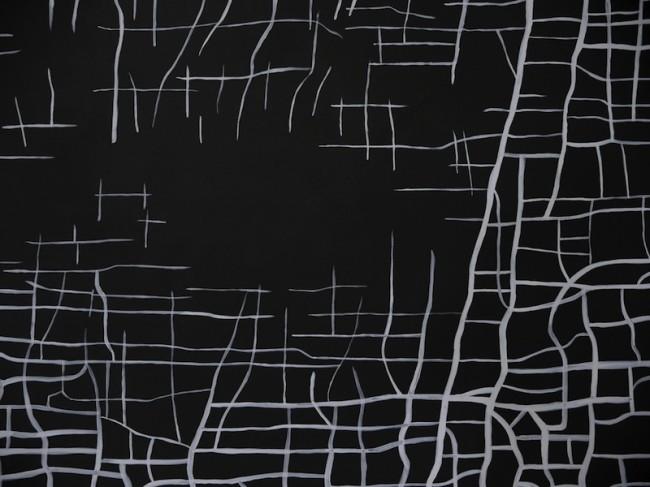 Massimiliano Galliani, Le Strade del Tempo #1, acrilico su tela, 280x420 cm (particolare)
