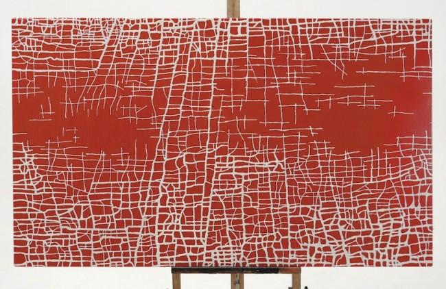 Massimiliano Galliani, Le Strade del Tempo #4, vernice e polvere di marmo su tela, 90x152 cm