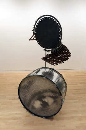Terry Adkins, Darkwater Record (from Darkwater), 2003  ̶ 2008. Porcelain, cassette tap records with Socialism and the American Negro speech with W.E.B. Du Bois, 78.7 x 30.5 x 35.6 cm. Arrow Fine Art Storage, Elmhurst, Queens, NY