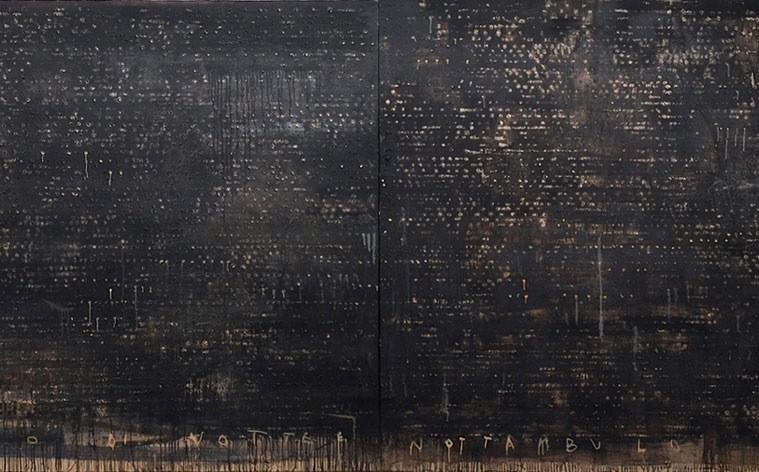Piero Pizzi Cannella, Solo di notte nottambulo, 2001, 171x500 cm, tecnica mista su tela
