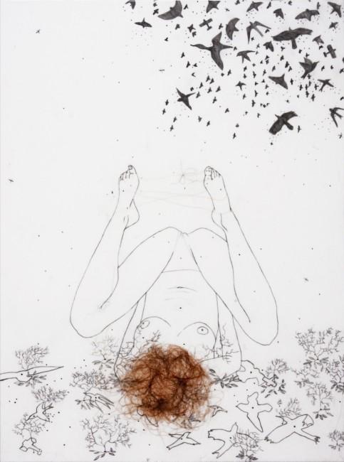 Tamara Ferioli, Light Flight, 2010, matita e capelli su carta giapponese intelata, 40x30 cm